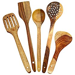 EtsiBitsi Wooden Ladle Set 5 piece Set
