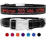 TagME Personalisierte Bestickte Reflektierend Hundehalsbänder/Benutzerdefinierte mit Name und Telefonnummer Bestickt / 4 Größe & Schwarz/Für kleine und mittlere und große Hunde