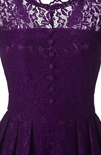 FLYCHEN Damen Elegant Kleider Vintage 1950s Spitzenkleid Cocktailkleid Knielange Swing hochzeitskleid Partykleid Abendkleid Violett