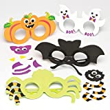 I spy something creepy!;Foam glasses kits in four Halloween character designs.;Each kit contains foam glasses, self-adhesive foam pieces and wiggle-eyes.;Size approx. 17cm-21cm.