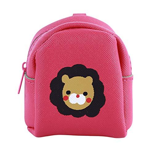 Weiy - mini portamonete da donna con cerniera, con portachiavi, pelle sintetica, red, size:7.5 * 4.5 * 8cm