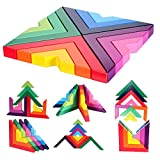 Lewo Holzbausteine Regenbogen Stapeln Spielzeug Geometrie Bausteine Pädagogisches Puzzle Lernspielzeug für Kinder ab 3 Jahren