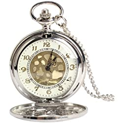 Gleader Vintage Large Gold Face Pocket Watch Necklace Women Men Quartz Pocket Watch
