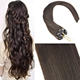 Sunny 14'/35cm Easy Loop Micro Ring Remy Capelli Umani Extensions 50 Strands Marrone Scuro (4#) Lisci Extensions Capelli 50grammo