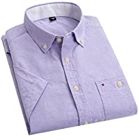 Fulok Mens Thin Short Sleeve Oxford Slim Summer Casual Shirts XXS Purple