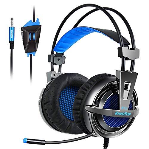 KINGTOP PS4 Kopfhörer Stereo Gaming Headset mit Mikrofon In-line Lautstärkeregler für PS4 Xbox One PC Tablet Smartphone Blau (Alle In Einem Globalen Adapter)