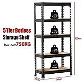 Popamazing Black 1.5m 5 Tiers Metal Boltless Industrial Racking Garage Storage Shelves Shelving Units