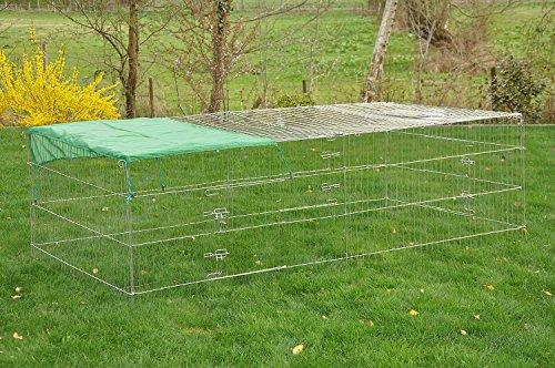 """nanook """"Square"""" - Freigehege für Kaninchen, verzinkt mit Abdeckung und Sonnenschutz - Größe XL (230 x 115 x 60 cm)"""