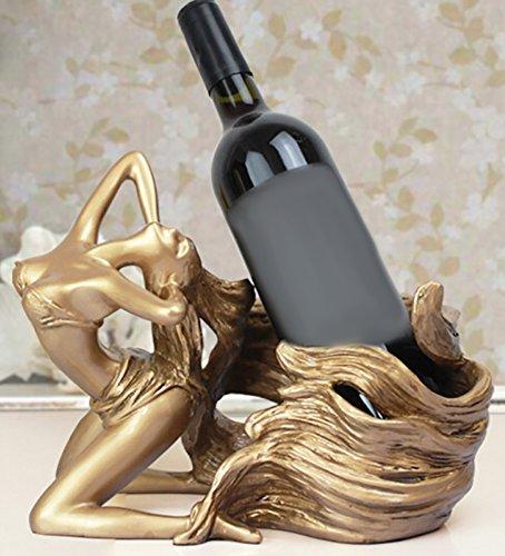 CLOTHES- Lange Haar Schönheit Harz Europäischen Stil Weinpflege Bar Weinschrank Dekorationen Heimtextilien Weinregale ( Farbe : Gold ) -