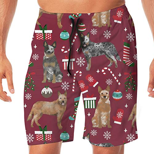 Australian Cattle Dog Blue Heeler Dog Breed Christmas Peppermint Sticks Presents Snowflakes Ruby Surfing Pocket Elastic Waist Men's Beach Pants Shorts Beach Shorts Swim Trunks X-Large