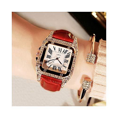 LBDXY Damen Armbanduhr - Vintage Weibliche Uhr Strass Modestudentin wasserdichte Uhr,Rostfreier Stahl Quarzuhren Ledergürtel Quadratischer Diamant,Rot