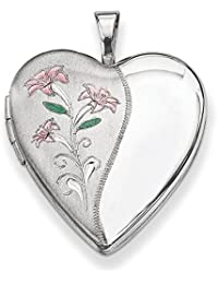 Sterling Silver Enameled Flowers Heart Locket