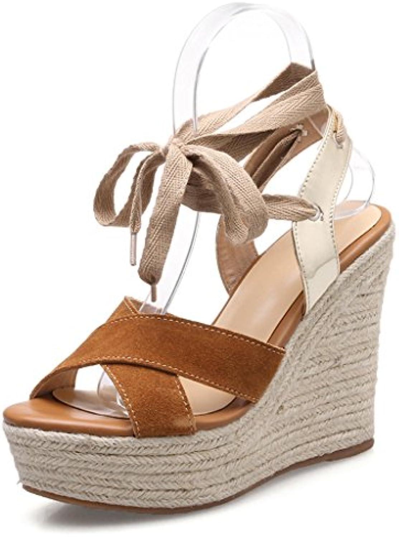 0473ca0ddd31aa sandales sangle wedge rétro sexy escarpins à talons talons talons  confortables étanches des chaussures de femmes (couleur marron...b07d57djjs  parent ...