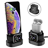 3 in 1 Stand in Silicone Docking Station Stazione di Ricarica Dock Base Compatibile con iWatch Apple Watch Series 4 3 2 1 iPhone X 8 8 Plus 7 6 Airpods Nero