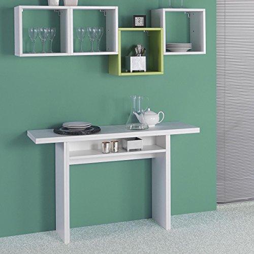 Consolle Oplà trasformabile in tavolo 120x35/70 x 75 in legno MDF Bianco EL530