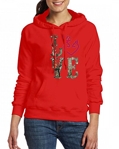 LOVE Camo Womens Hoodie Fleece Custom Sweartshirts Red