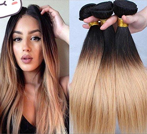 45,7 cm droite cheveux vierges Brazillian 1bundle 50 g 7 A Ombre Extensions de cheveux humains tissage Miel couleur 1B/27 cheveux brésiliens tissage