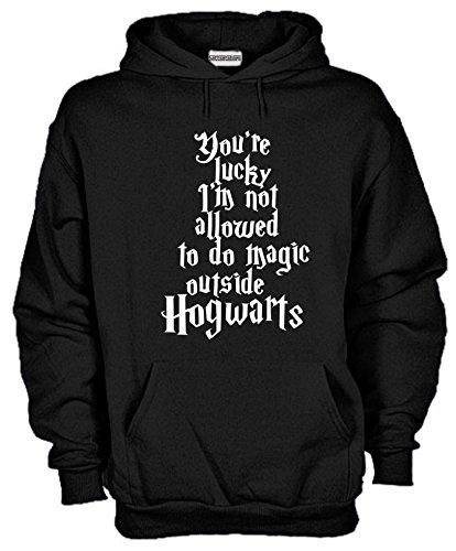 Settantallora - Felpa Con Cappuccio KJ793 Non Uso Magia Fuori da Hogwarts Taglia S