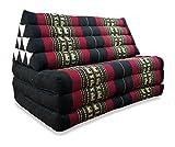 livasia XXL Thaikissen im Jumbo Format, Thaikissen der Marke Asia Wohnstudio, Dreieckskissen mit 100% Kapokfüllung, Thaimatte, (schwarz/Elefanten)