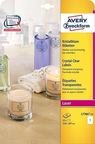 AVERY Zweckform L7784-25 Kristallklare Etiketten (zum Bedrucken, selbstklebend, 210x297 mm, A4, 15 Aufkleber auf 25 Blatt, Klebeetiketten zum Beschriften und zur Produktauszeichnung) transparent