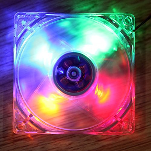 Amazingdeal365 120mm Ordenador PC Quad Clear Quad 4 LED CPU Ventilador de...