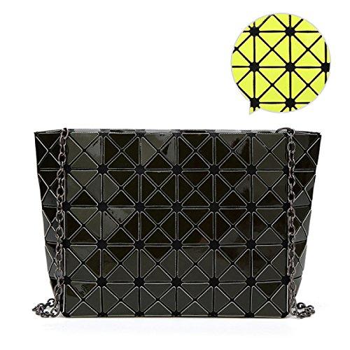 Rhombus Piegatura Cucitura Signore Borsa A Tracolla Piazza La Borsa Il Cubo Il Cambiamento Di Temperatura 5 * 8 Pacchetto Geometrica Casuale La Personalità La Moda DarkGreen