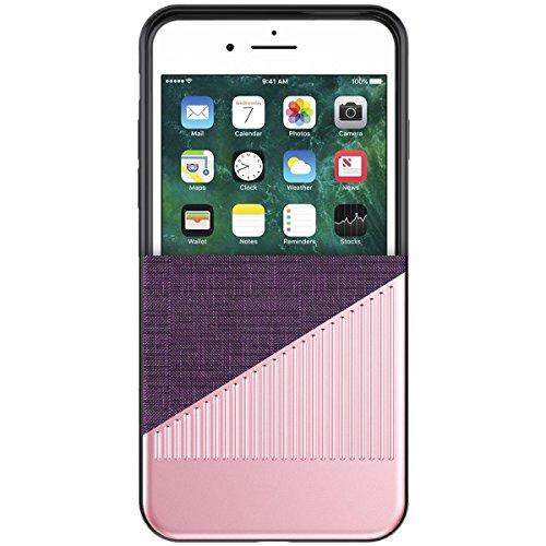 Coque iPhone 7 / 8, WorCord iPhone 7 / 8 Ultra Mince Métal Etui Protecteur Luxe Argent Brossé et Tissu de Nanmu Élégant Classique pour iPhone 7 / 8 --- Noir Rose Gold