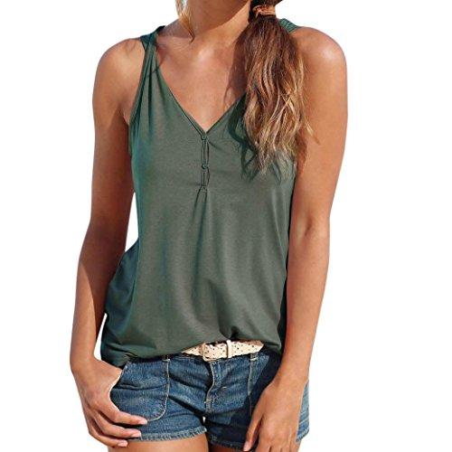 OYSOHE Damen Knopfweste Neueste Womens Sommer Riemchen Weste Top Ärmelloses Shirt Bluse Casual Tank Tops(Armeegrün,XL)