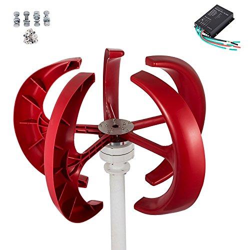 Buoqua windgenerator 300 Watt Wind Generator 12v Wind Turbine Generator 300w mit 5 Rotorblättern Red Lantern mit Laderegler für Power Supplementation (Turbine Kit Wind)