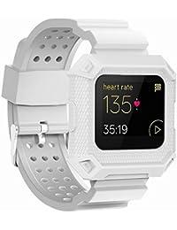 JIELIELE Fitbit Blaze Uhrenarmband, Wasserdicht Silikon Ersatz Handgelenk Gurt Sport Verstellbar Armband Bands mit Schutz Rahmen für Fitbit Blaze Smart Fitness Watch (White)