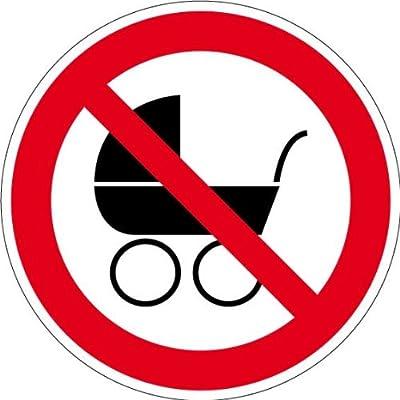 """Verbotsschild """"Kinderwagen verboten"""" aus selbstklebender Folie - in verschiedenen Größen erhältlich"""
