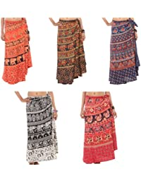 Wholesale lot of 5 Pcs Boho Hand Block Print Cotton Long Wrap Around Sarong Skirt