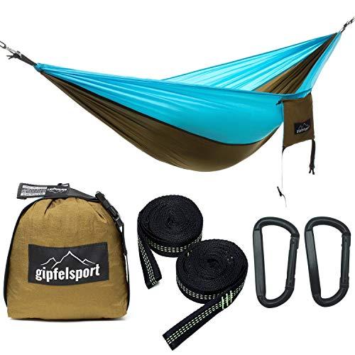 gipfelsport Hängematte - Outdoor Reisehängematte mit Aufhängeset, 2xGurte, Oliv/hellblau