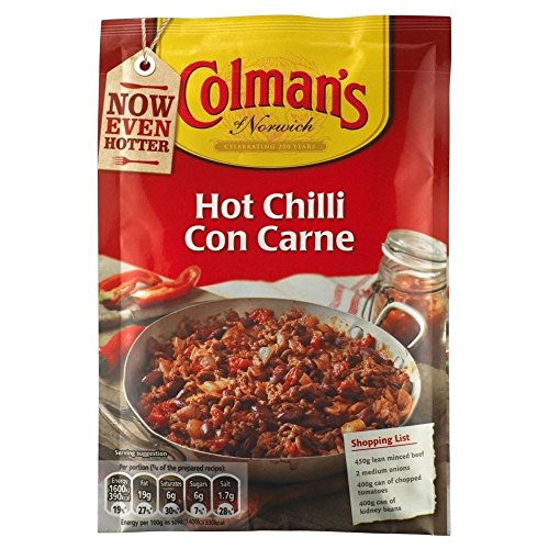 Colman Hot Chili con carne-Sauce Mix (40 g) - Packung mit 6