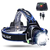 Zoomable LED Headlamp Waterproof KINGTOP USB Rechargeable Head Light Torch Lamp with Built-in Lithium Battery for Camping Hiking Running Cycling Fishing Hunting Climbing Caving Walking & More