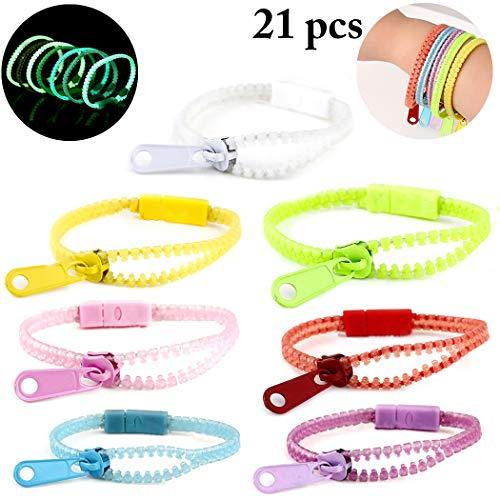 JUSTDOLIFE 21 StÜcke Zappeln Armband für Nacht Party Reißverschluss Armband Luminous Sensory Armband (Angst-spiel Faktor Für Halloween)