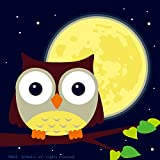 "Diy Oil Painting, Paint By Number Kits For Kids Owl And Yellow Moon 8""X 8""."