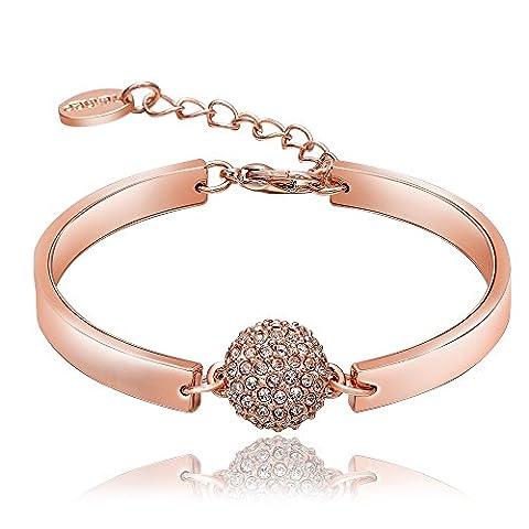 FushoP 18K Bracelet en Cristal à Perles Rondes Poli et Large (Rose plaqué or)