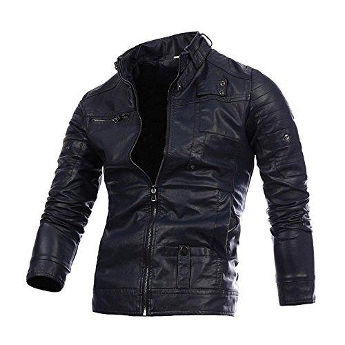 Herren Jacke Bekleidung Loveso Männer Winterjacke Leder Winter Warm Gothic Punk Motorrad Kleidung Outfit Freizeitjacke Sportjacke Zipper Blazer (2XL, Marine Blau) (Marine-blau-kleidung)