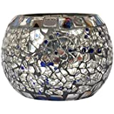 Lal Haveli Tealight Decorations Mosaic Glass Candle Holder Gift Items For Wedding 3.5 X 3 Inch (Candle Included)