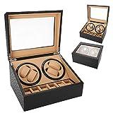 Caja de Relojes 4+6 Caja de batidos Caja de colección de relojes preciosos para hombre de cuero + tablero de fibra + joyas de color beige interiores(Grano de avestruz)