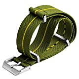 Bracelet de Montre ZULUDIVER Nylon NATO Vert/Jaune, Fermoir Brossé, 22mm