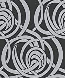 #9: Excel Wallpapers, Style Abstract, Non Woven back-GREY, BLACK - 57 SQFT (Ideal for Living room, Kitchen), Made in Germany
