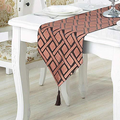 Gesäumten Rand Schal (13 x 82 'Tischläufer, einfaches Gitter mit gesäumten dekorativen Wohnzimmer | TV-Schrank | Couchtisch | Stoff Tischdecke, für Hochzeit | Party | Fotografie (Farbe: Orange))