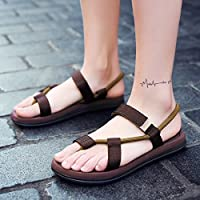 fankou Summer Sandals Men's Men's Field and Trendy Clip Pin Personalized Couples Large Code Beach Slippers,37, Brown (A)
