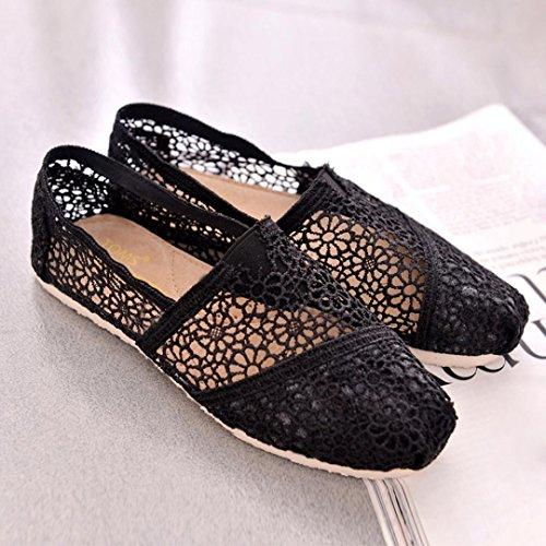 BZLine® Frauen Segeltuch Stricken flache Schuhe Hohle Sandelholze flache Schuhe Schwarz