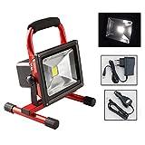 Hengda® 20W LED AKKU Strahler Arbeitsleuchte Baustrahler Fluter Handlampe Camping Lampe Kaltweiß Wasserdicht IP65, Rot