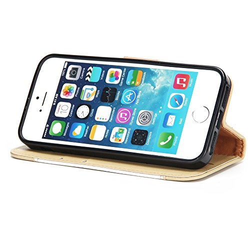 GR Premium PU Leder Flip Stand Case Cover mit Card Cash Slots und Lanyard für iPhone 5 & 5s & SE ( Color : Red ) White
