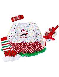 Bebé Conjunto de Trajes 4 Piezas Navidad Tutú Body con Venda Leggings Zapatos Trajes 0-24 Meses