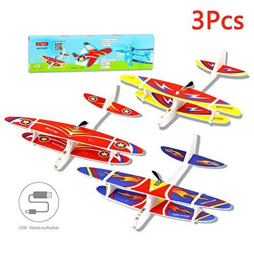 Herefun 3 Stücke Segelflugzeug, Flugzeug Spielzeug, Gleitflugzeuge Modell Schaum Styropor Flugzeug, USB Aufladbar Outdoor-Sportarten Spielzeug - Rot, Pink, Blau